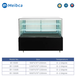 Square Glass Marble Base Cake Display Refrigerator